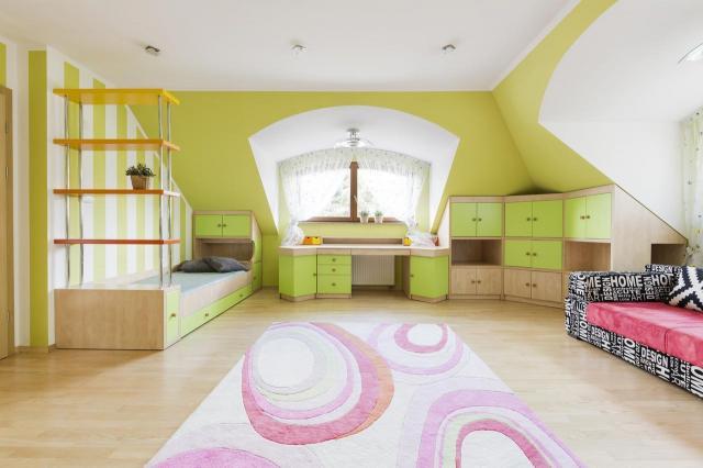 wnętrze, pokój dziecka, pokój